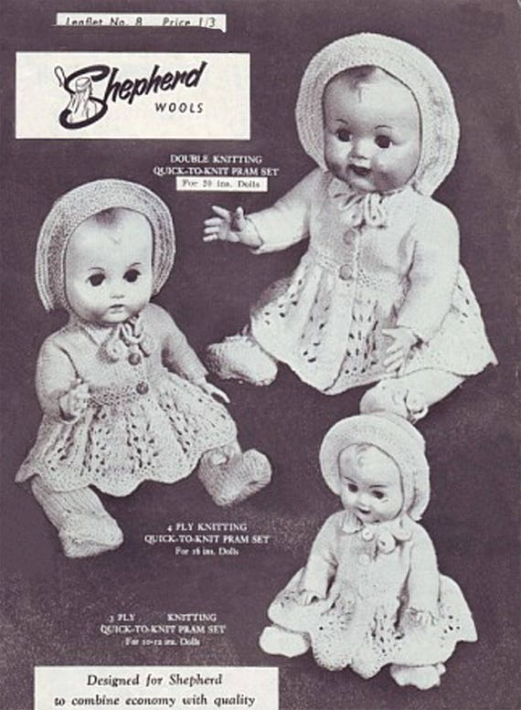 V Doll 69 Dolls clothes knitting pattern for 12 inch baby doll.