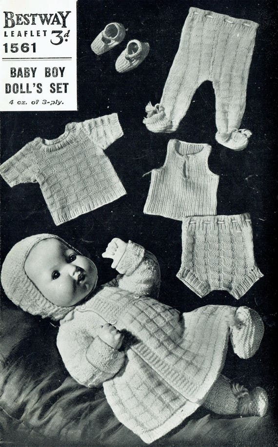 36366f8a8654 PDF Vintage 1940s Doll Clothes Premature Baby Knitting Pattern