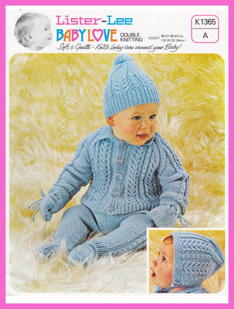 26423f682 PDF Vintage Baby ARAN Knitting Pattern Lister Lee Baby