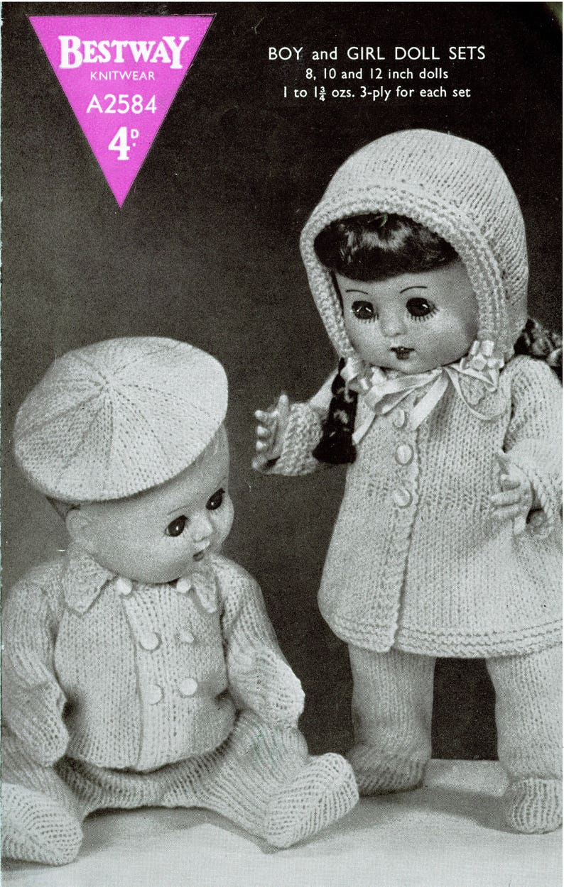 5c1eaaa15 PDF Vintage Doll Clothes Knitting Pattern Bestway A2584 Rose