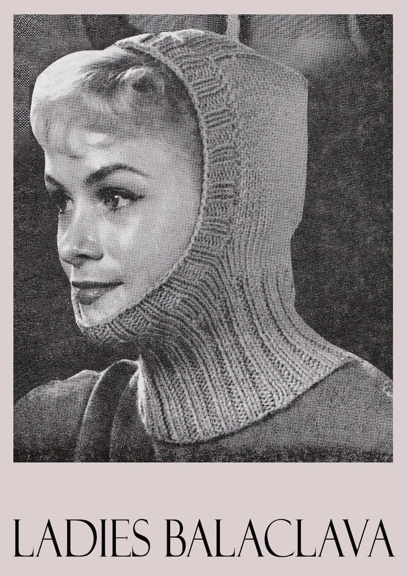 PDF Vintage 1960s Womens Ladies Hat Knitting Pattern Balaclava  444f949d35