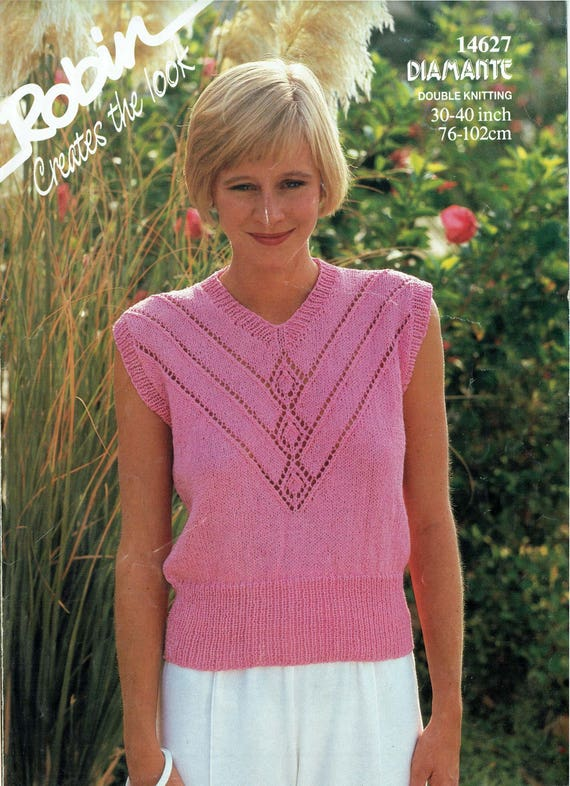 Pdf Vintage Womens Ladies Knitting Pattern Larger Summer Top Etsy
