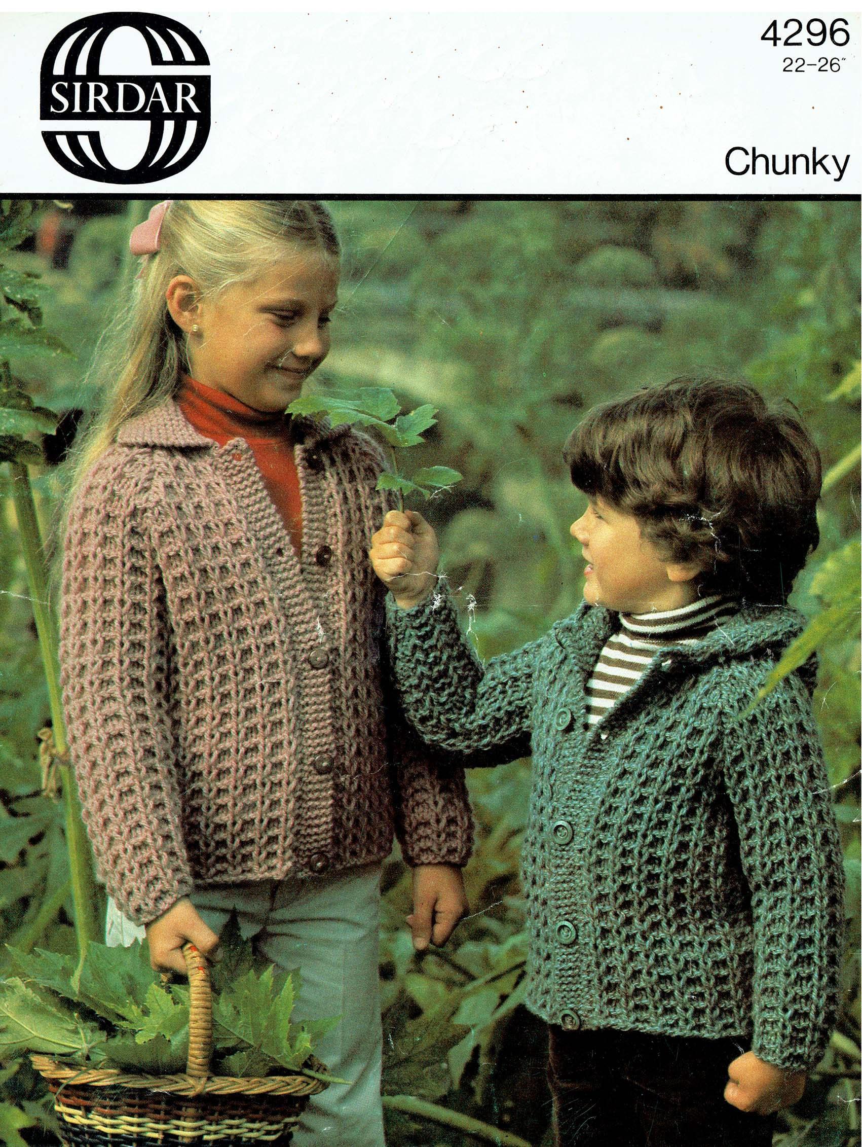 PDF Vintage Knitting Pattern Children CHUNKY Jacket Toddler Sirdar ...