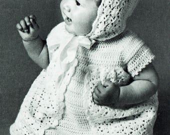 PDF Vintage Baby Crochet Pattern Summer Angel Dress Matinee Bonnet Patons 2128 Pram Set Stripes Pink & White Lacy Kitsch Baby Doll