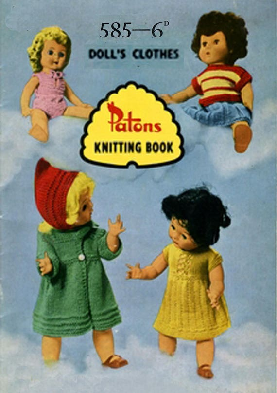 Pdf Vintage Doll Clothes Knitting Pattern Booklet 1950s Patons Etsy
