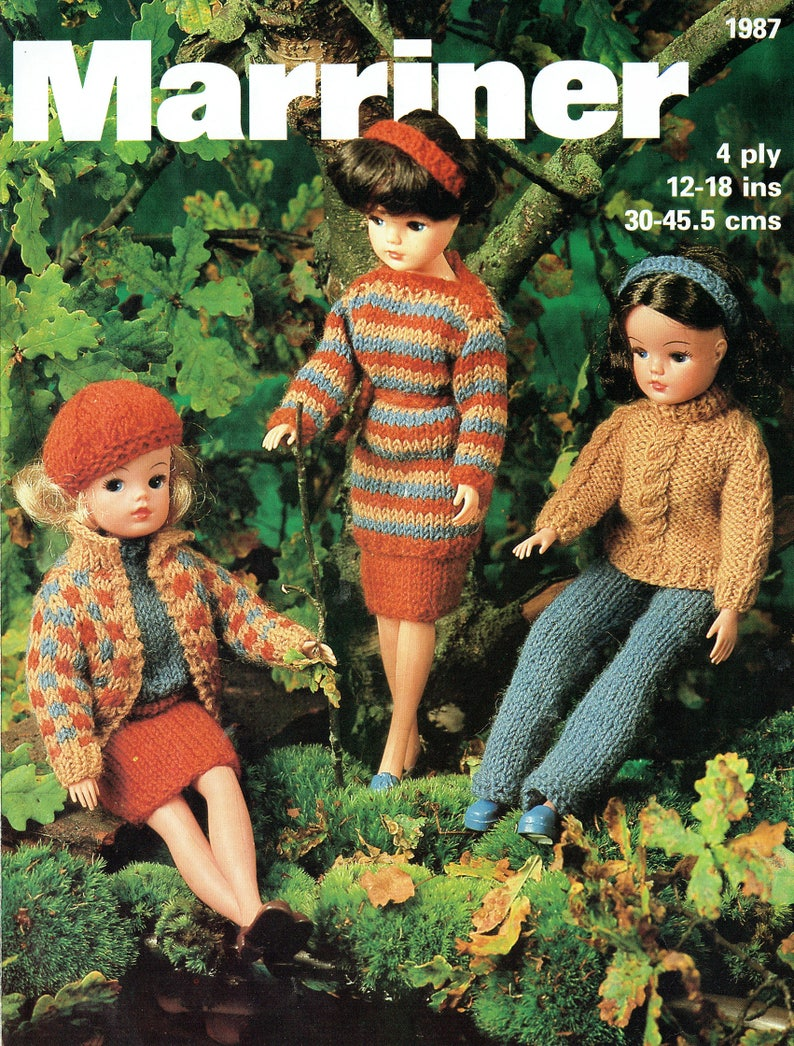 6a9c86724e458 PDF Vintage Sindy Barbie Doll Clothes Knitting Pattern Boho