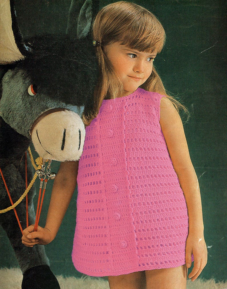 "Patons 6427 4 ply summer dress 22-26/"" 1970s Cute Vintage Girls Crochet Pattern"