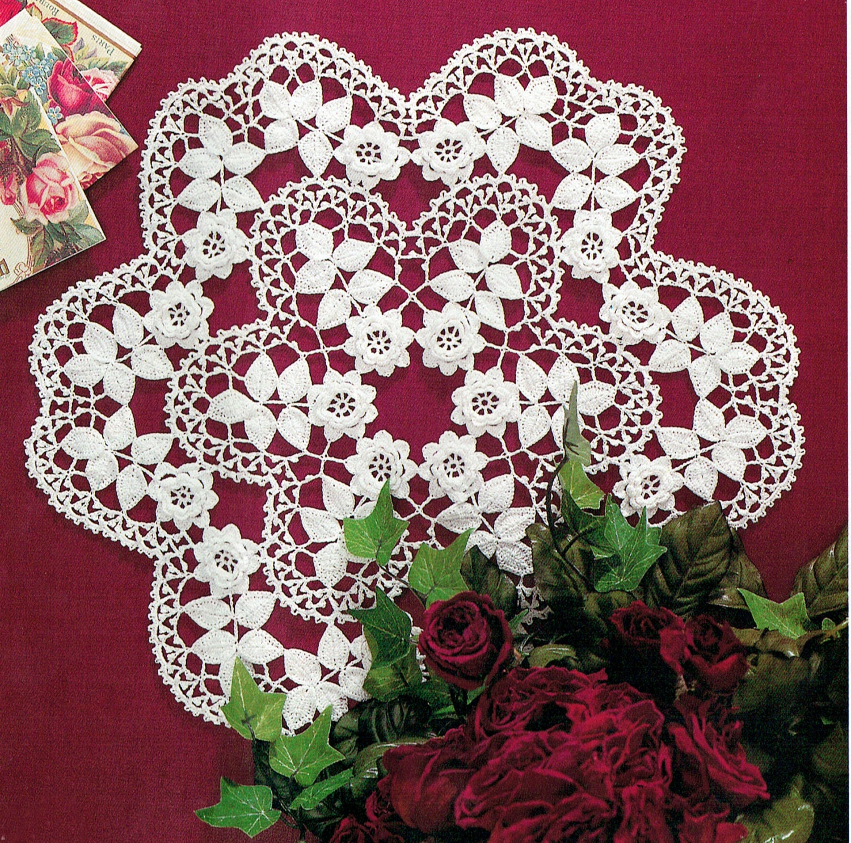 Christmas Snowflake 3d Rose Crochet Pattern Lace Etsy