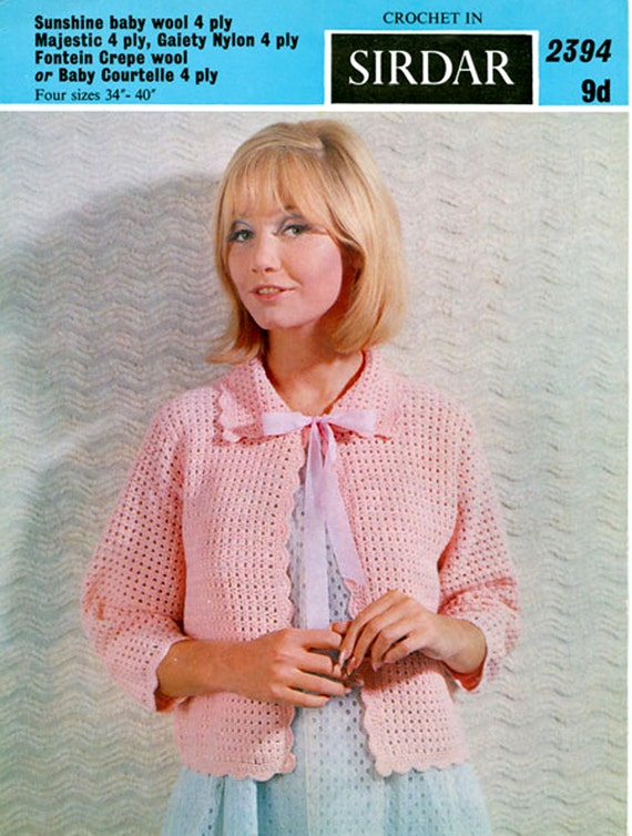 Pdf Vintage Womens Ladies Pussy Bow Bed Jacket Crochet Pattern Etsy