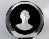 Vintage Baccarat Sulphide Glass Paperweight Prince Charles, Prince of Wales