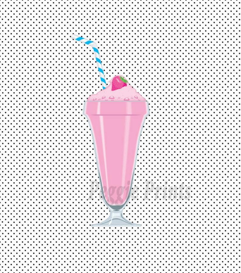 Pastel vintage milkshake polkadot wallpaper. 8x10 digital ...