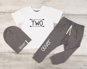 Second Birthday Boy Outfit Boys 2nd Shirt Personalized Joggers Beanie Two Year Old Gift
