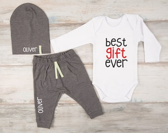 Christmas Gifts, Christmas Baby Outfit, White Bodysuit, Personalized Pants / Hat, Trendy Baby Clothes, First Christmas Boy Outfit