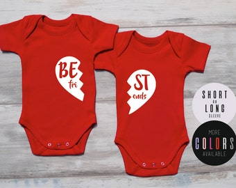 Twin Gifts, BEST FRIENDS Matching Bodysuits, Cute Twin Outfits, Twin Baby Shower Gift, Gender Neutral Twin Outfits, More Colors Available