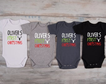 Baby Boy Christmas  Outfit, MY FIRST CHRISTMAS Personalized Baby Boy Outfit, Christmas Baby Boy Outfit, Christmas Baby Bodysuit