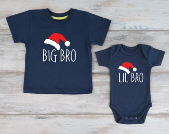 Christmas Gifts, Big Brother Little Brother Christmas Shirts, Christmas Sibling Shirts, Set of 2 Navy Shirts, Christmas Photo Prop
