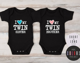 8ab2a8060 Twin Baby Gift, Boy and Girl Twin Outfits, Baby Twins Gift, Baby Twins Boy  and Girl Clothes, I Love My Twin Set of 2 Matching Outfits