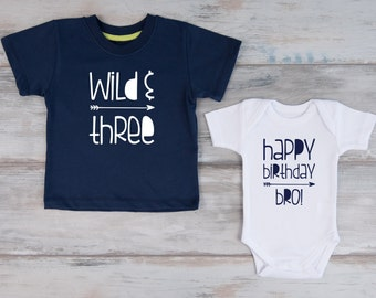 Third Birthday Shirt Set Big Brother Little Shirts Wild Three Navy T Happy Bro White Bodysuit