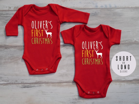 image 0 - FIRST CHRISTMAS Outfit Personalized Baby Bodysuit Gender Etsy