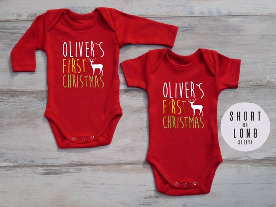 FIRST CHRISTMAS Outfit, Personalized Baby Bodysuit, Gender Neutrlal Baby  Outfit, Christmas Baby Boy Outfit, Christmas Baby Girl Outfit - FIRST CHRISTMAS Outfit Personalized Baby Bodysuit Gender Etsy