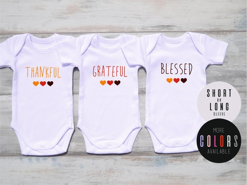 1fbcc744 First Thanksgiving Triplet Outfits THANKFUL GRATEFUL BLESSED | Etsy