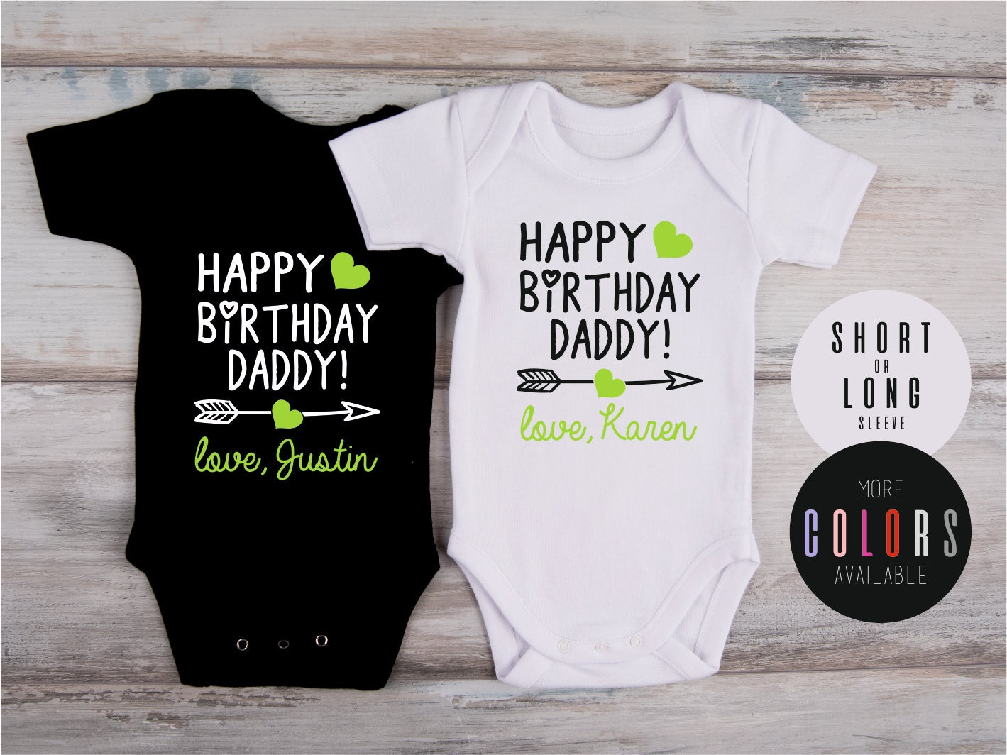Dad Birthday Gift HAPPY BIRTHDAY DADDY Personalized Bodysuit Baby Outfit Custom For More Colors Available