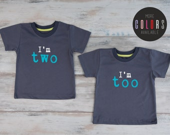 Second Birthday Twin Shirts, Birthday Shirt 2, Two Year Old Birthday Twin Outfits, 2nd Birthday Shirt Set, Twin Boys, More Colors Available