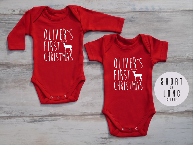 767c3383510c1 My First Christmas Personalized Baby Boy Outfit, My First Christmas Outfit,  Red Bodysuit, Christmas Baby Boy Outfit, Baby Christmas Outfit
