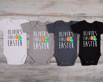 MY FIRST EASTER Personalized Baby Boy Outfit, 1st Easter Outfit, Easter Baby Boy Clothes, Baby Boy Easter Outfit, Easter Eggs Baby Bodysuit