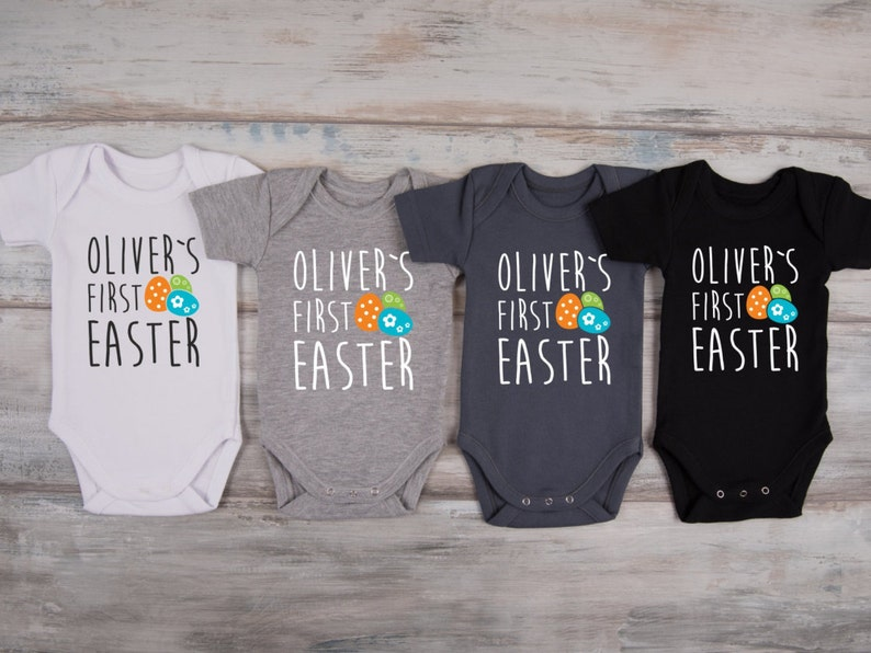 bea6a33f7 MY FIRST EASTER Personalized Baby Boy Outfit 1st Easter | Etsy