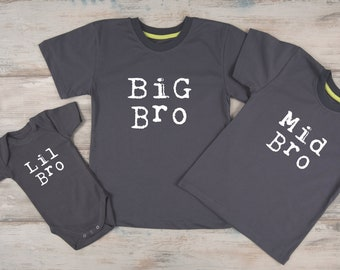 Sibling Shirts, Big Brother Middle Brother Little Brother Outfits, Big Bro, Mid Bro, Lil Bro Shirt, Gift for Boys, Siblings Gifts