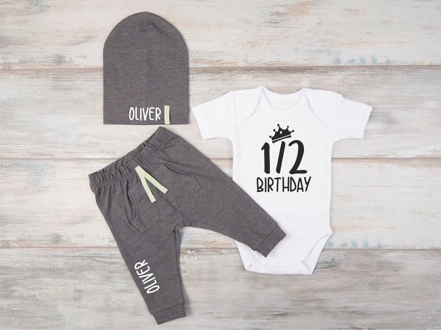 Half Birthday Outfit Boy 1 2 Bodysuit Personalized