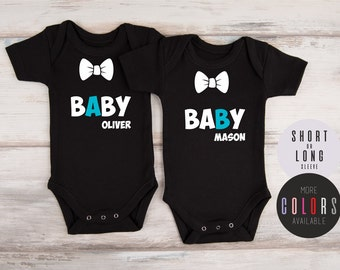 Twin Baby Shower, Personalized Twin Baby A Baby B Outfits, Baby Shower Twins, Twin Boy Coming Home Outfits, Twin Boys, More COLORS Available