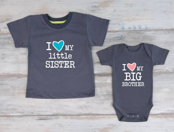 Baby Sister And Big Brother Outfits I Love My Little Sister Etsy