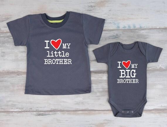 Ensemble bébé frère Big Brother, cadeau de frères, frères chemises, j'aime T-Shirt mon petit frère garçon & j'aime mon grand frère garçon Body