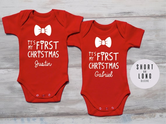 image 0 - Twin Christmas Costumes Its MY FIRST CHRISTMAS Baby Twin Etsy