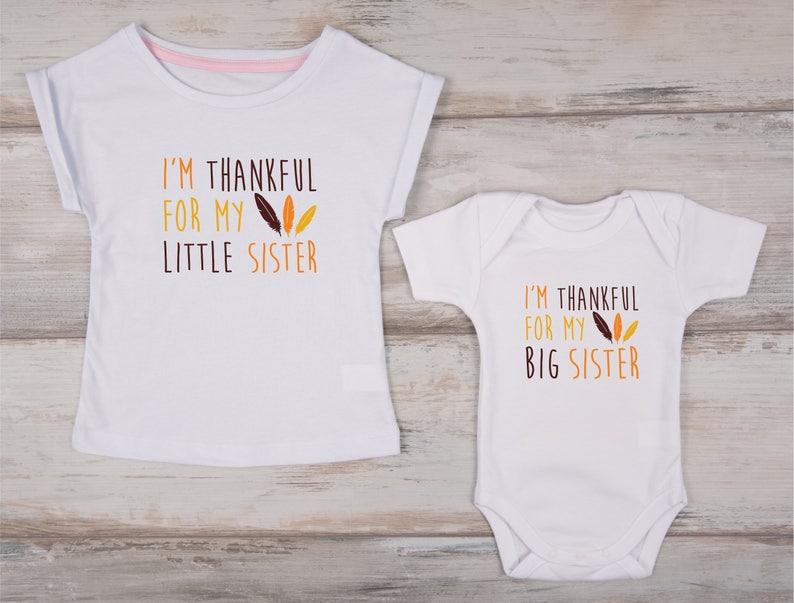 7925878a Big Sister Little Sister Thanksgiving Shirts I'm Thankful | Etsy