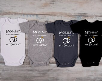 MARRIAGE PROPOSAL IDEA, Mommy, Will You Marry My Daddy? Baby Boy Bodysuit, Glitter Marriage Proposal Idea, More Colors Available