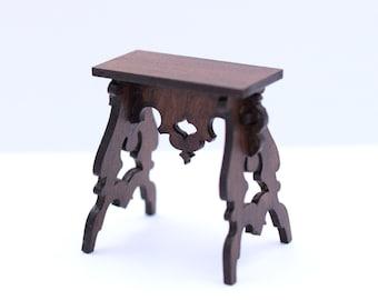 1:12 Dollhouse miniatures Tudor stool diy kit, Medieval miniature furniture , One inch scale castle decor