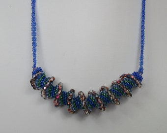 Blue Cellini Spiral Necklace with Fire Polished Beads