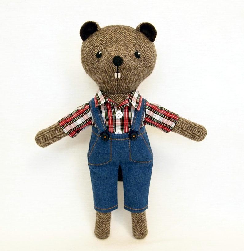 003a779204 Brown Beaver Boy Plush stuffed animal toy Woodland wool