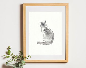 Watercolor hand painted cat with frame