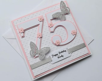 Large Number With Flowers And Butterflies Handmade Birthday Card Female 75th Special Age
