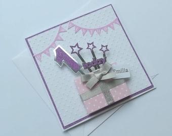 Pop Up Present Handmade Birthday Card Girls 1st Boys Personalised