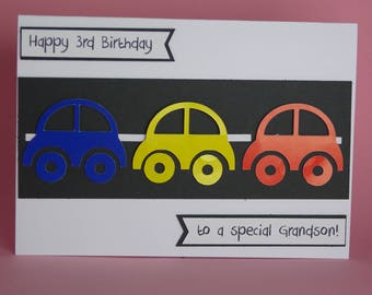 Handmade Car Birthday Card, boys 1st birthday card, boys car birthday card, car theme birthday card, racing car card, card for him,