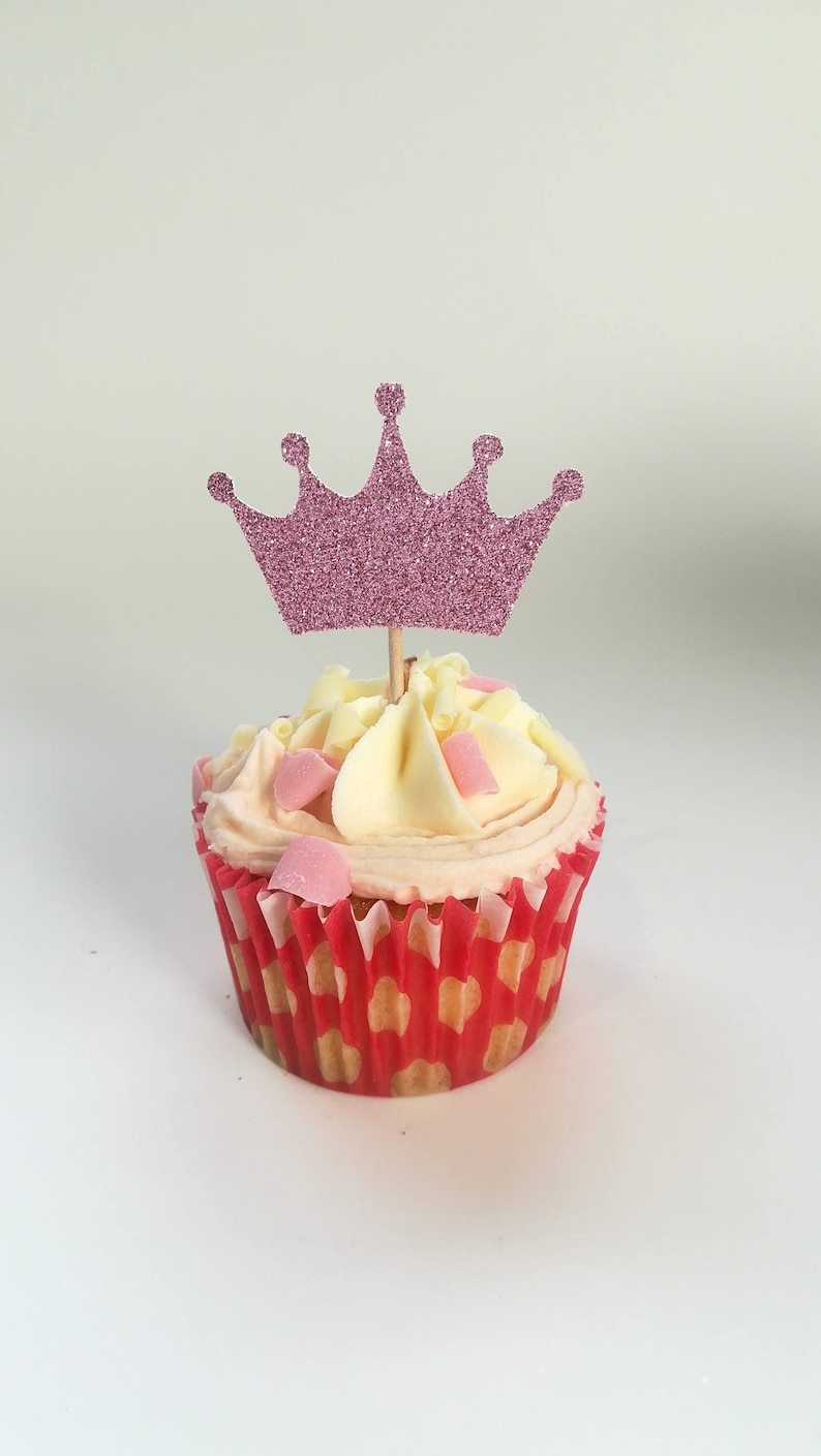6 Or 12 Princess Crown Cupcake Toppers 1st Birthday Cake