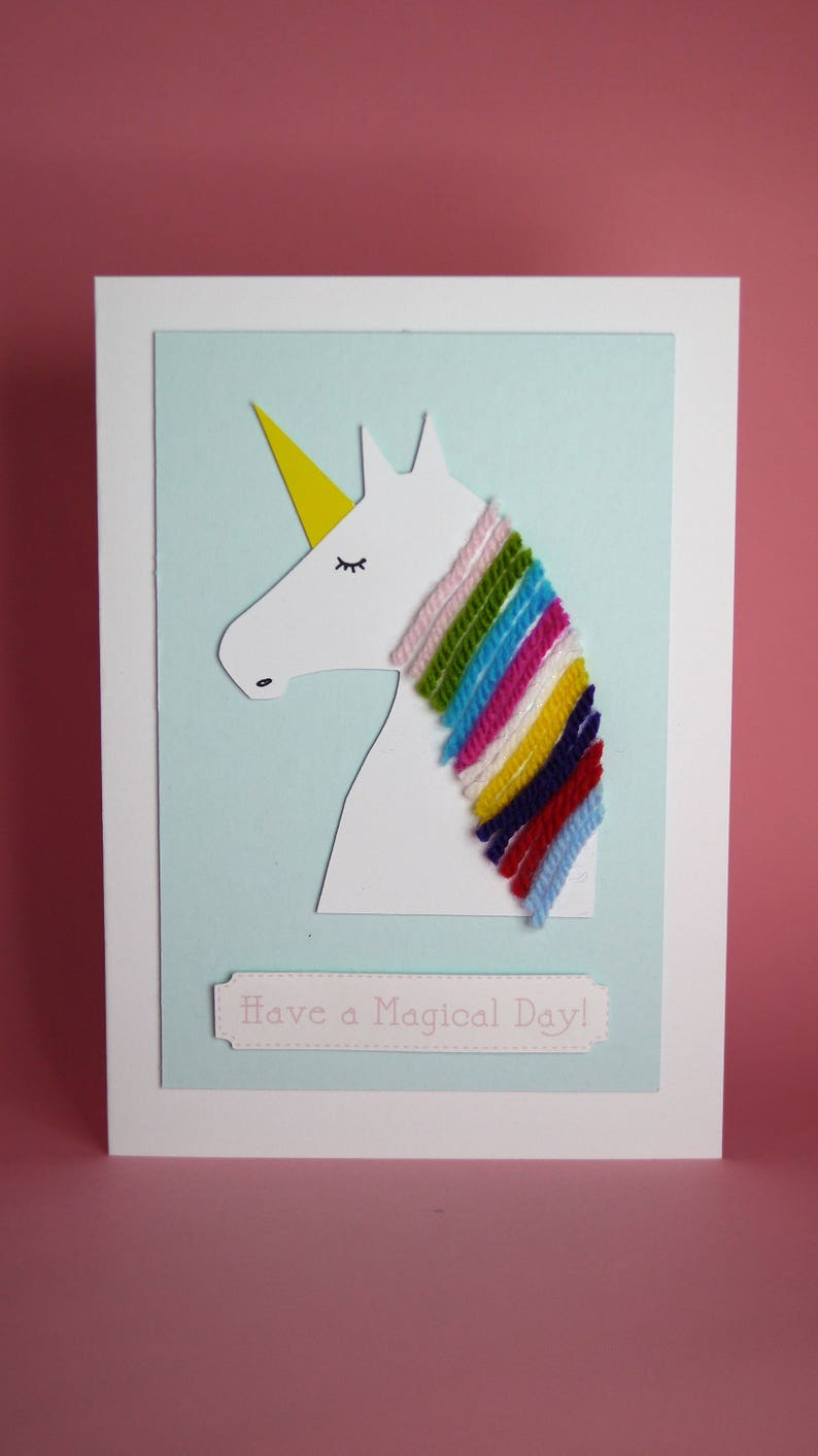 Unicorn Handmade Birthday Card Girls 1st Cute