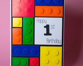 Multicoloured Bricks/Blocks Handmade Birthday Card, kids birthday card, children's birthday card, 1st birthday card, 3d birthday card