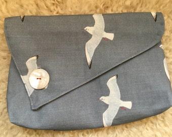 Clutch Bag / Evening Bag - grey seagulls