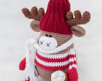6ed099400a354 Crochet Elk toy Amigurumi crocheted Moose in a hat
